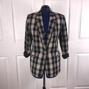 Requirements 12 linen blend plaid 1 button blazer